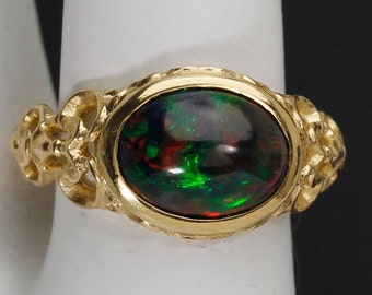 Welo Black Opal Sculpted ring.