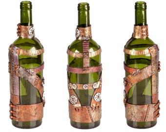 """11"""" Steampunk Oil Lamp Bottle - Green Open Glass"""
