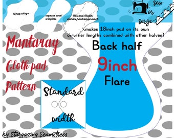 Cloth Pad Pattern, Mantaray wrap wing by Stargazing Seamstress, Sewing tutorial, Serged Pad, PDF Sewing Pattern, Standard width