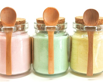 Flavored Sugar Set, Rose, Mint, & Lemon Sugar in Jar with Mini Wood Spoon, Tea Party, High Tea, Rimming Sugar, Lemonade, Baking, Coffee