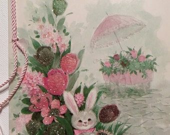 Vintage Easter Card. Glittered. NOS. Unused Vintage Card. Wife.