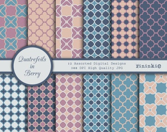 Quatrefoil Digital Scrapbooking Paper - blue, pink, cream, grey - Instant Download - Commercial Use CU - Digital Scrapbooking - Geometric