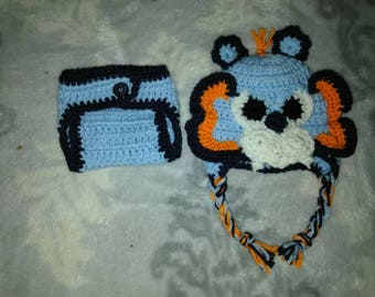 Animal hat and diaper cover set