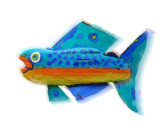 Whimsical Trout Fish Art - Colorful Orang, Blue, Unique Original Creation Fish Art Reproduction