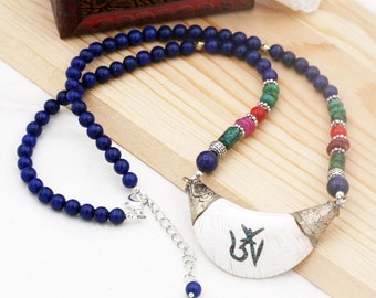Inner peace unisex necklace - Lapis, quartzite and tridacnidae shell
