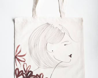 Hand-painted cotton bag 'FLOWER'