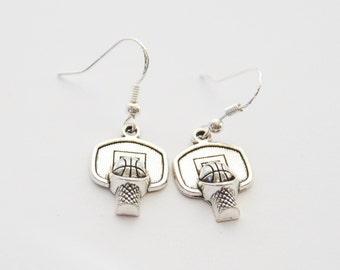 Basketball Earrings, Basketball Gifts, Basketball Net Earrings, Basketball Jewelry, Basketball Coach gift, Sports Earrings, Sports Jewelry