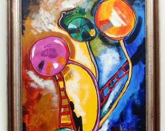 "Original abstract painting ""Lollipops"" , color explosion"