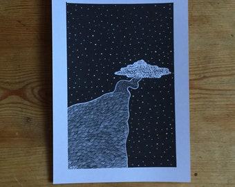 A5 original tree print