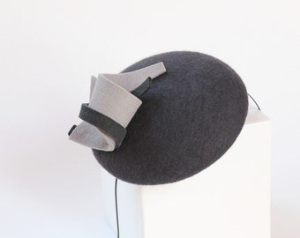 Mini Hat-Button-Fascinator-Wool Felt-steel color-style No 120