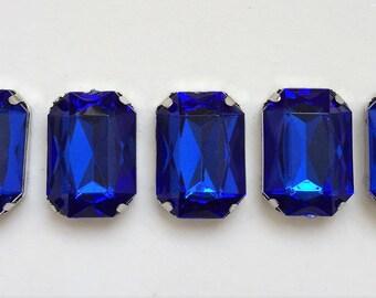 impressive opulent pristine salvaged sapphire blue rectangular gem cut acrylic cabochon bracelet components--matching lot of 5