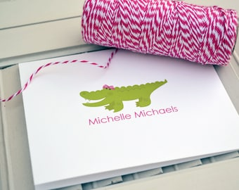 Girls Gator Personalized Stationery / Personalized Stationary / Personalized Note Cards / Stationery Set - Girls Gator Notes Design
