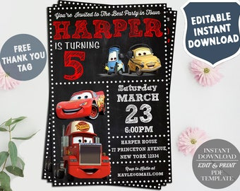 cars birthday invitation template Baskanidaico
