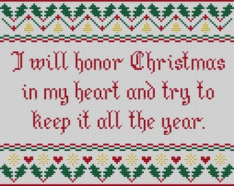 "Christmas cross stitch. ""I Will Honor Christmas"". Modern cross stitch. Dickens quote. A Christmas Carol. book quote. Christmas decor"