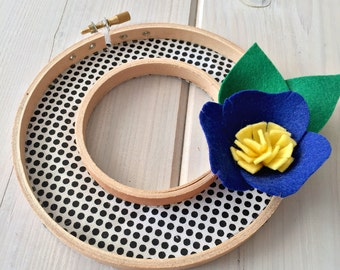 Handmade Felt Fabric Hoop Door Wreath Decoration - Spotlight 5""