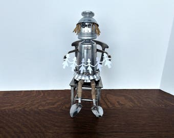 Assemblage Art Robot - Found object - Paper Dolls - Upcycle Recycle Repurposed sculpture