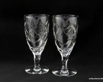 Seneca Glass Juice Glasses with Butterfly Miter Cuts on Stem 311 - Vintage 1930s 1940s 1950s Stemware (pair)