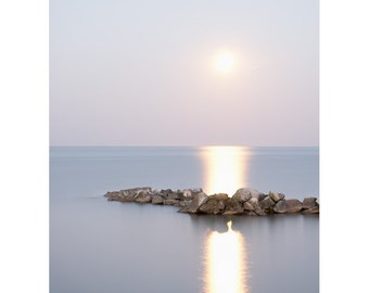 Photograph of moon over water. Minimalist zen picture. Calming coastal art. 8x10 seascape photo for beach house. Romantic gift for swimmer.