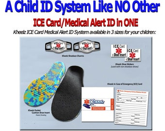 Special Needs Child ID & Medical Alert ICE (In Case of Emergency) Card Insole - Children Size Small-US Infant 7 thru Toddler 9)