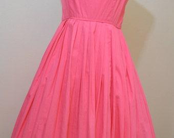 1950s pink sundress / 50s cotton sundress/ 50s sundress