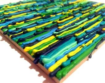 Neon Crayon Melt - Crayon Drips - Blue Abstract - Wall Decor