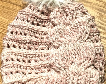 Crochet Cable Slouchy Hat