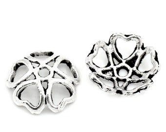 100 beads carved 10 mm Silver Flower bead caps