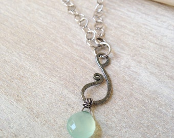 Dainty Sterling Silver Fine Silver Necklace Petite Aqua Chalcedony Necklace Simple Handcrafted Artisan Pendant Handmade Jewelry California