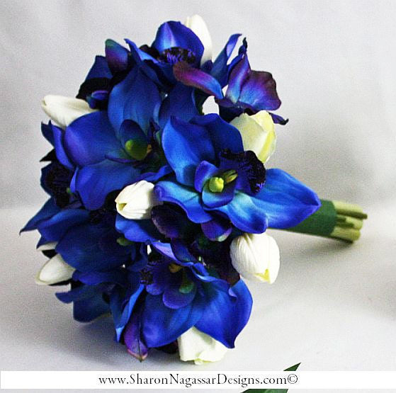 Deep bluepurple orchids cobalt royal navy white bride deep bluepurple orchids cobalt royal navy white bride wedding bouquet groom set real touch flowers silk orchids tulips roses mightylinksfo Gallery