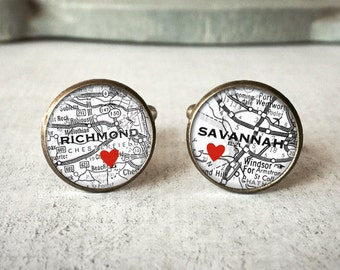 Personalized Map Cufflinks, Custom Cuff Links, Wedding Cuff Links, Wanderlust Cufflinks, Long Distance Gift, Travel Cufflinks, Travel Gift