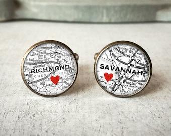 Personalized Map Cufflinks, Custom Cuff Links, Wedding Cuff Links, Wanderlust Cufflinks, Long Distance Gift, Travel Cufflinks, Travel Gift