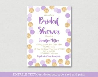 Purple & Gold Bridal Shower Invitation / Glitter Bridal Shower Invite / Glitter Dots / Confetti / Editable PDF INSTANT DOWNLOAD B113