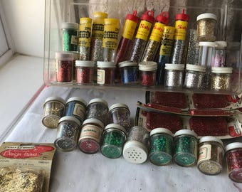 Lot of vintage glitter twinkles for crafts silver gold green red rainbow add sparkle to anything
