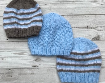 Baby hats knitted . 0 to 3 months baby hats. baby beanie. Choice of colours
