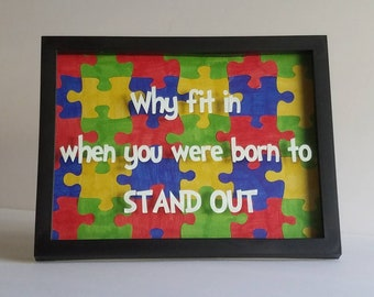 Autism Decor/Dr. Seuss Quote/Puzzle Pieces/Red/Blue/Green/Yellow/Frame/Art/Donation/Wall Decor/Home Decor