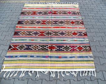 free shipping VINTAGE TURKİSH balya cecim kilim Anatolian handwoven kilim rug decorative kilim - SİZE : 64'' X 96'' ( 160 cm X 240 cm)