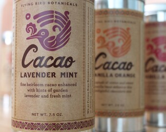 0402 Cacao Lavender Mint 7.5oz... hot drinking chocolate made with 100% organic, natural fair trade ingredients