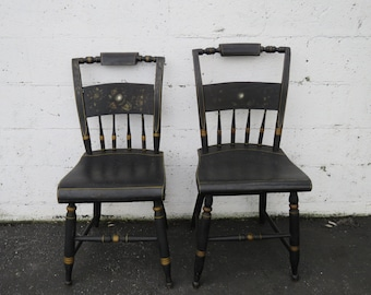 Early 1900s Hand Painted Hitchhiker Living Dining Room Pair of Side Chairs 9018