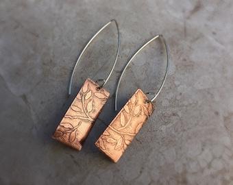 Copper Tree Branch Earrings
