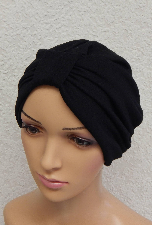 turban noir cancer stretch chapeau femme bonnet chimio. Black Bedroom Furniture Sets. Home Design Ideas