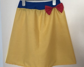Snow White inspired skirt, in adult size, with elasticated waist in a red, yellow and blue style