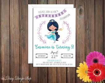 Birthday Party Invitations - Princess Jasmine and Laurel in Watercolor Style - Aladdin Arabian Princess - Set of 20 with Envelopes