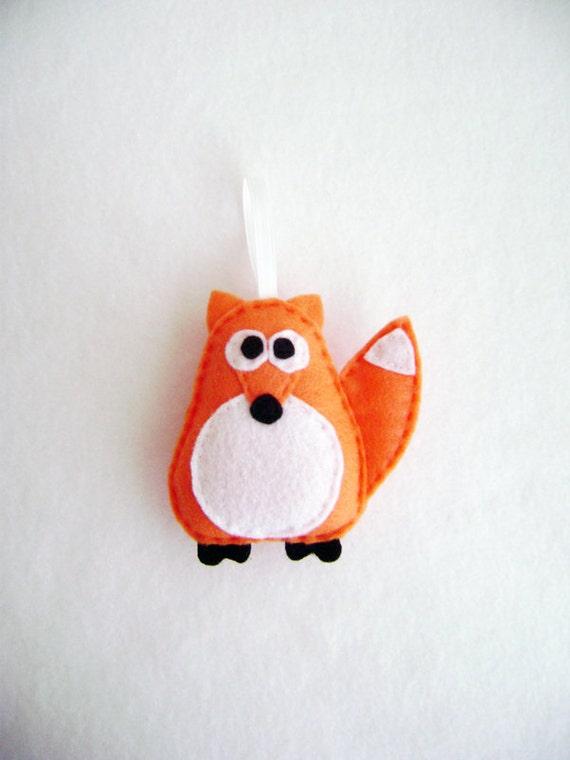 Ornament, Fox Ornament, Christmas Ornament, Jefferson the Orange Fox, Felt Animal, Gift Topper
