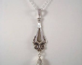 Crystal Rhinestone Art Deco Necklace Wedding Necklace 1920's Jewelry Gift For Her