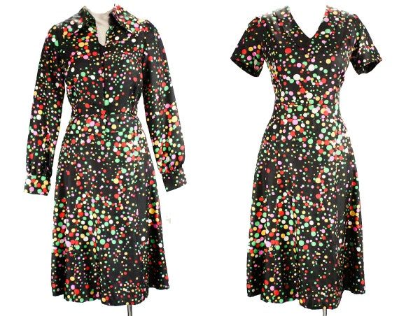 Green Print 60s Summer Haute amp; Dress Quality Pink 8 27 Silk Suit Dress Red 48701 Jacket Waist Novelty Black Size Bubbles 1960s UPgvqw