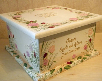 Vintage Keepsake Box Custom Designed for weddings, baby shower, kids room decor, personalized, furniture decor, art and decor