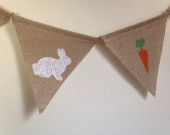 Spring Bunny Banner-Burlap Banner with Carrots and Bunnies-Free Shipping