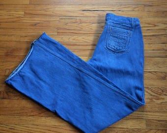 Vintage Brittania Rough Hem High Waist Bell Bottom Denim Jeans