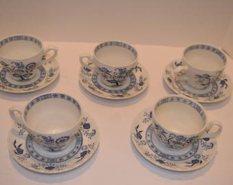 Vintage Set of 5 J and G Meakin Blue Nordic Onion Cups and Saucers