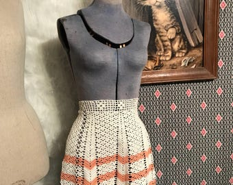 Adorable Vintage Handmade Crochet Apron 1940s 1950s Kitchen decor Half Waist Apron